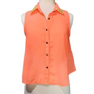 Live 4 Truth Orange Sheer Collared Button Down Top